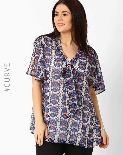 Printed Top With Flutter Sleeves By Oxolloxo ( Blue )