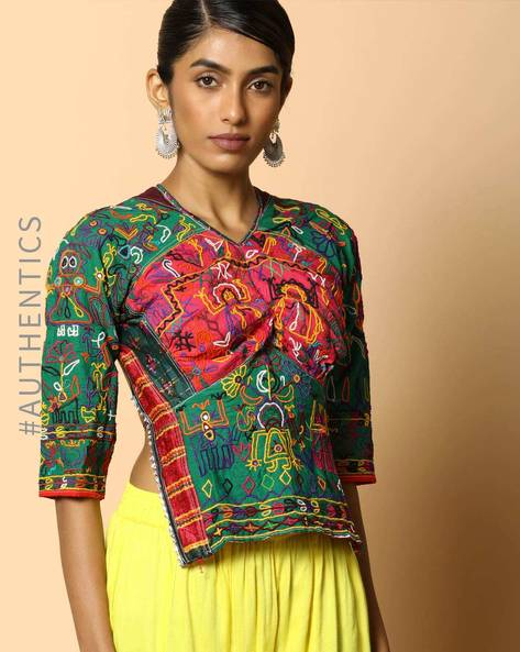 Kutch Embroidered Backless Blouse By Indie Picks ( Multi ) - 460103679001