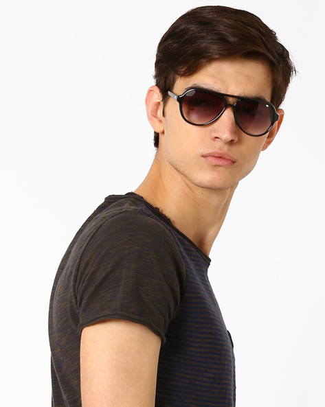 Graduated Sunglasses With Top Bar By MTV ( Grey )