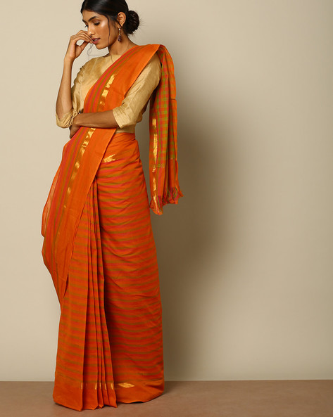 South Cotton Striped Saree With Zari Border By Indie Picks ( Brown )
