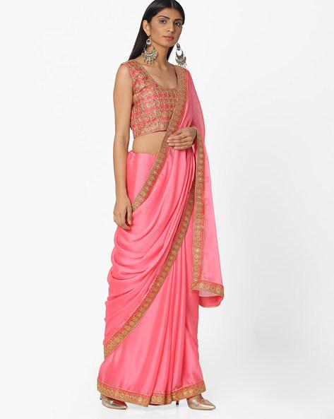 Embroidered Chiffon Saree By Majestic Silk ( Pink )