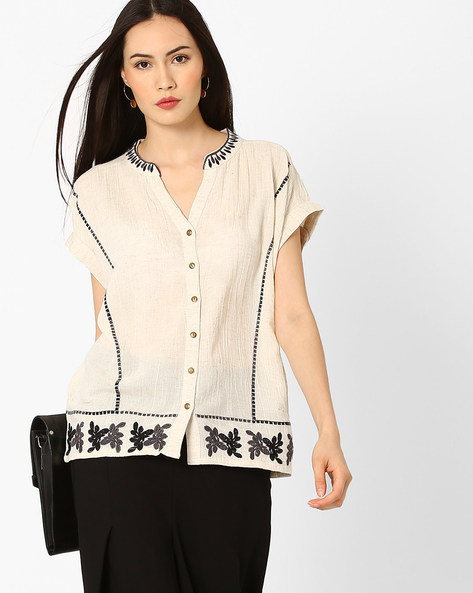 Top With Floral Embroidery By Global Desi ( Natural )