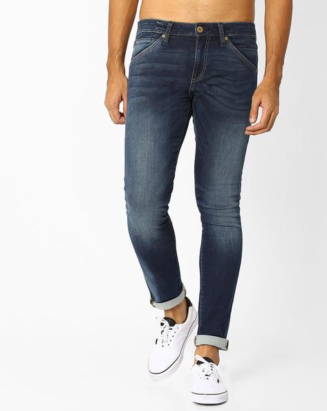 Slim Fit Lightly Washed Jeans By Jack & Jones ( Blue )