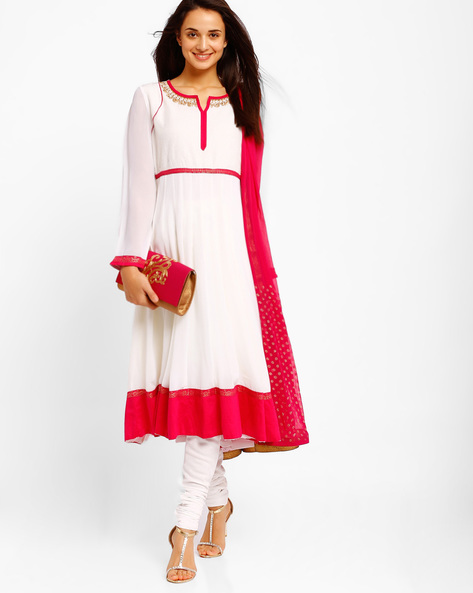 Anarkali Churidar Kurta With Dupatta By AJIO ( White ) - 460001590005