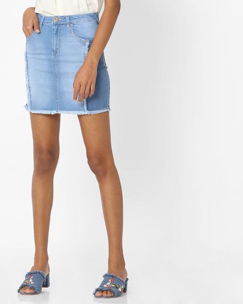 Panelled Denim Skirt By Tarama ( Blue )