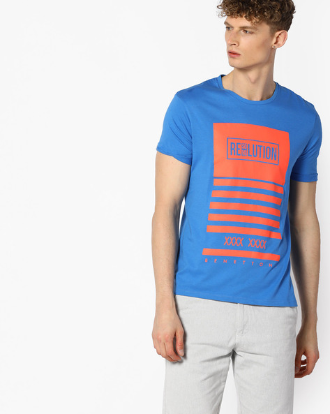 Graphic Print Cotton T-shirt By UNITED COLORS OF BENETTON ( Blue )