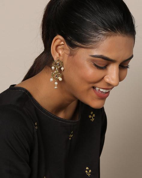 Metal Filigree Kundan Pearl Drop Earrings By Rubans ( Gold )