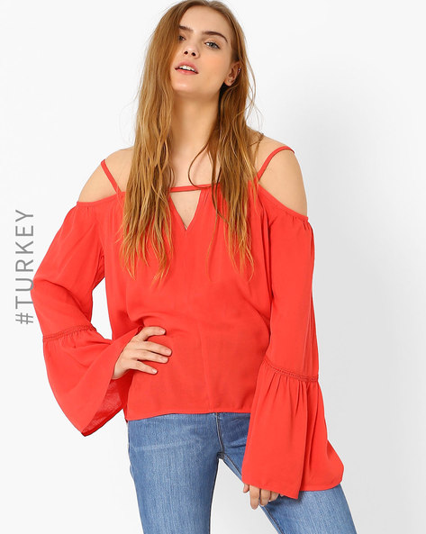 Off-Shoulder Strappy Top By TIFFANY & TOMATO ( Coral )
