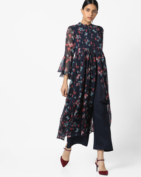 Butterfly Print Georgette Maxi Dress By Bitterlime ( Navyblue )