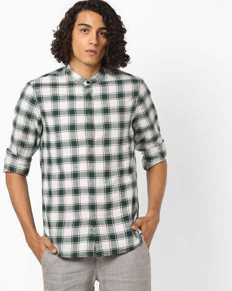 Checked Cotton Shirt With Band Collar By AJIO ( Anthracite )