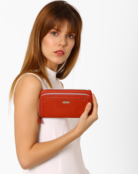 Zip-Around Wallet With Stitch Detailing By Lavie ( Orange )