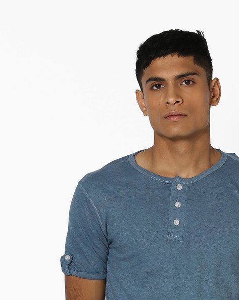 Henley T-shirt With Tab Sleeves By Campus Sutra ( Blue )