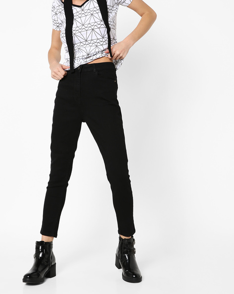 Ankle-Length Distressed Jeans By Fame Forever By Lifestyle ( Black )
