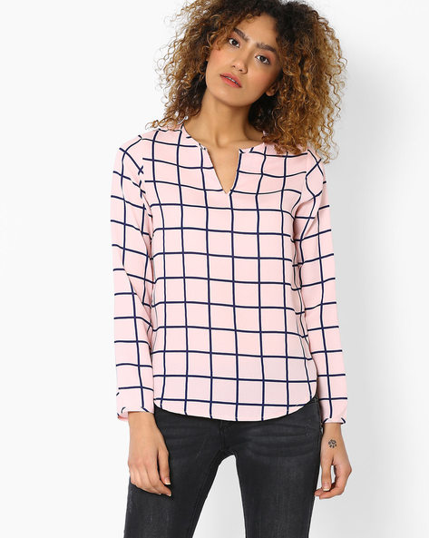 Woven Checked Top By FIG ( Navy )