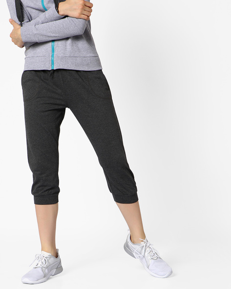 French Terry Track Pants With Drawstring Fastening By AJIO ( Darkgrey )
