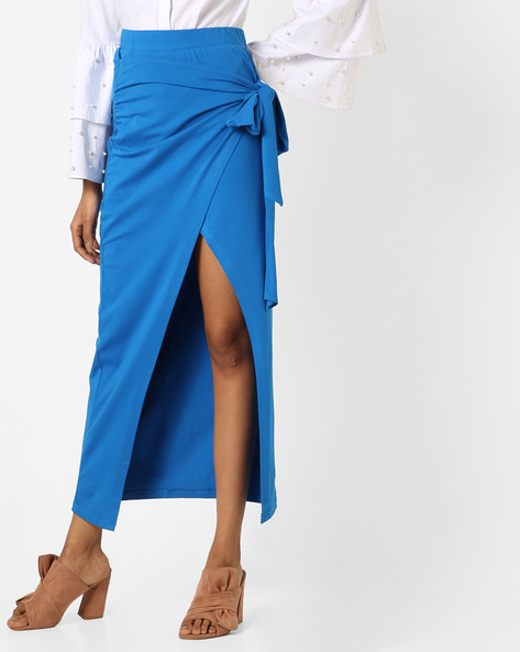 Wrap Skirt With Front Slit By AJIO ( Blue )