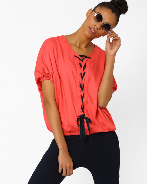 Batwing Top With Braided Tie-Up By RIO ( Pink )