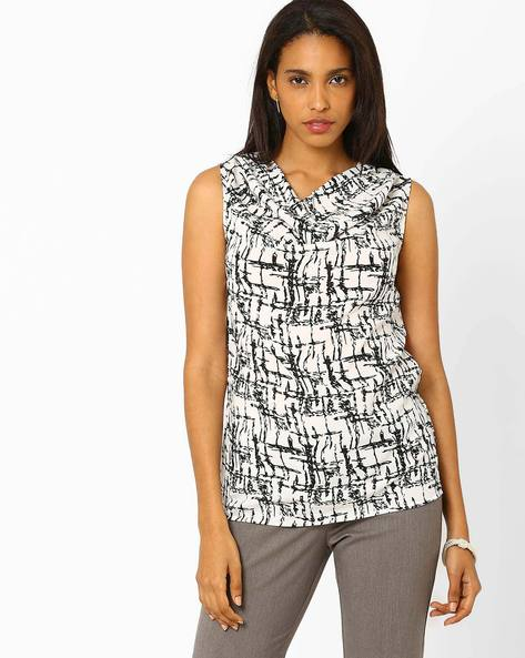 Printed Cowl Neck Top By Annabelle By Pantaloons ( White )