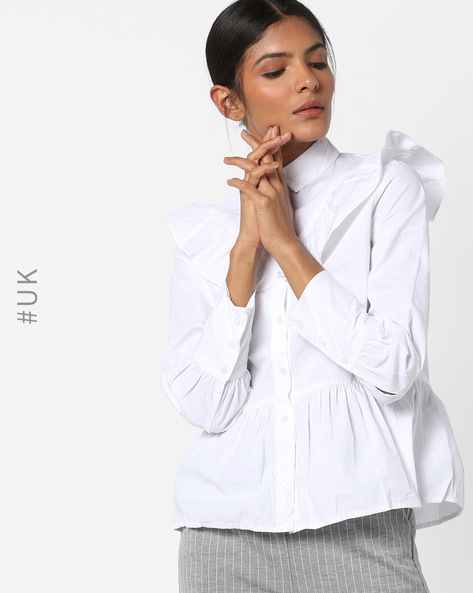 Button-Down Peplum Shirt By INFLUENCE ( White )