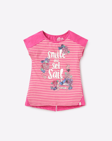 Striped High-Low T-shirt With Extended Sleeves By POINT COVE ( Pink )
