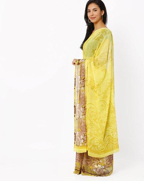 Floral Print Georgette Saree By Vaamsi ( Yellow )