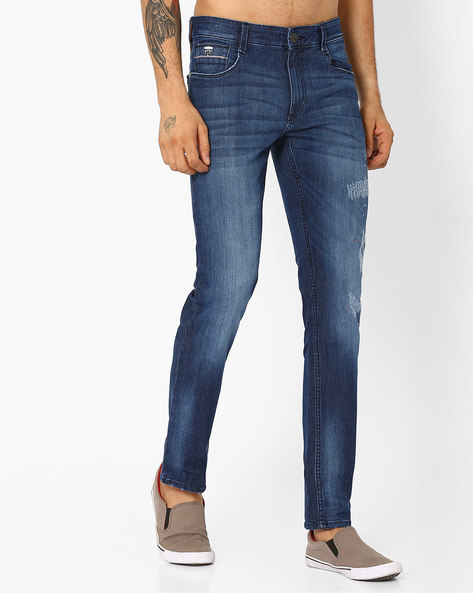 Lightly Distressed Slim Fit Jeans By JOHN PLAYERS ( Blue )