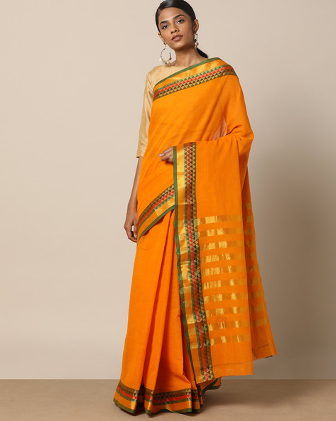 South Cotton Saree With Bold Striped Pallu By Indie Picks ( Yellow )