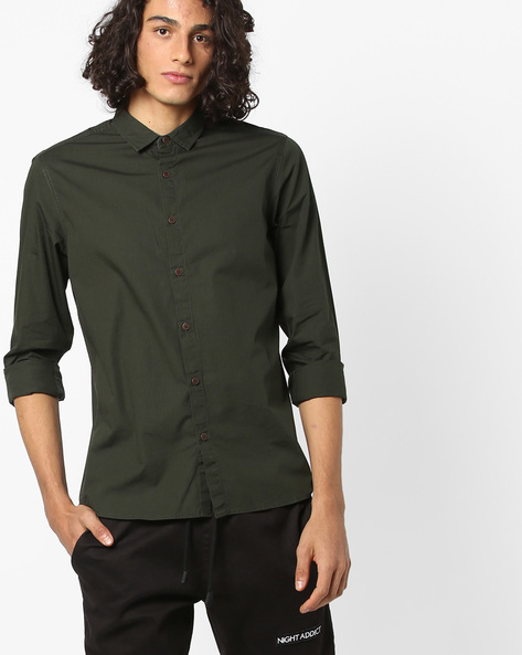Slim Fit Shirt With Printed Back By AJIO ( Olive )