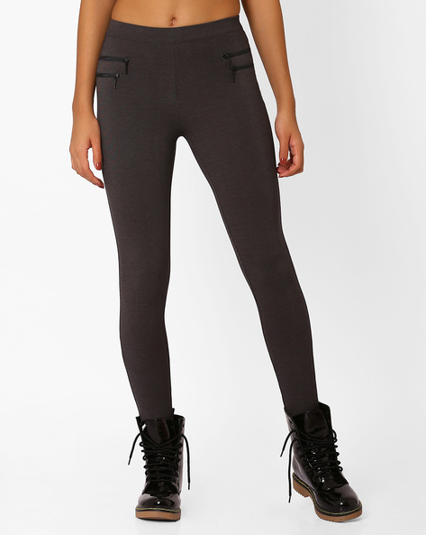 Mid-Rise Leggings With Elasticated Waist By Only ( Grey )