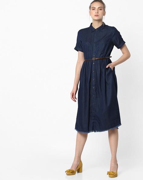 Denim Shirt Dress With Belt By Project Eve WW Denim ( Darkblue )