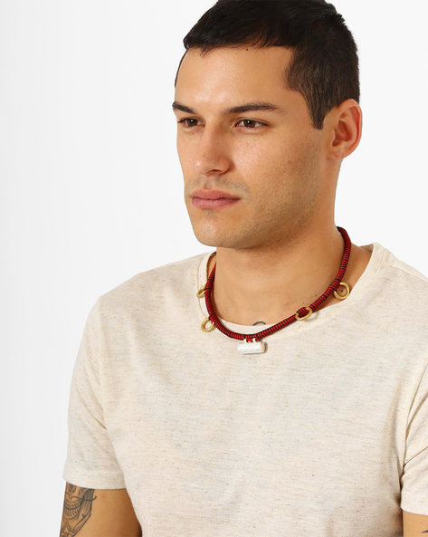 Braided Tribe Seed Neckpiece By Alto Vida ( Red )