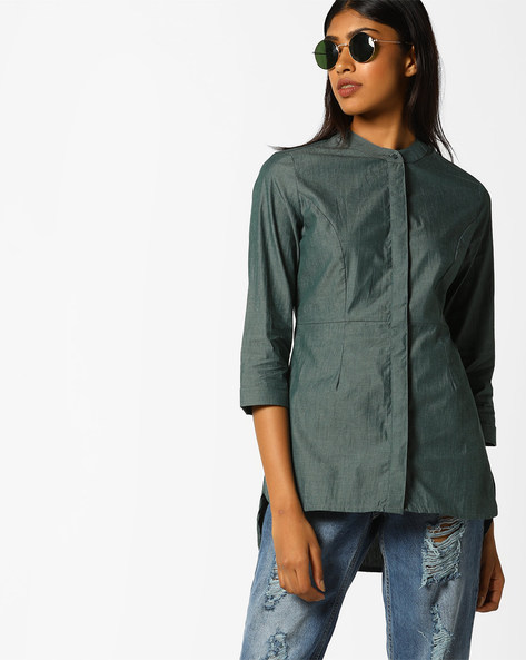 High-Low Chambray Shirt With Mandarin Collar By AJIO ( Olive )