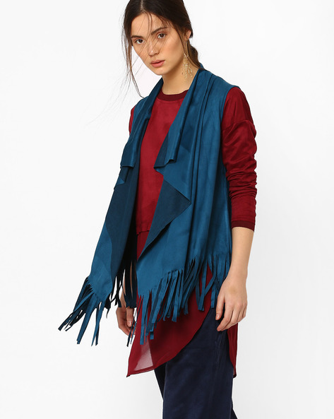 Waterfall Shrug With Fringes By AJIO ( Blue )