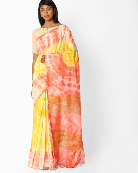 Tie & Dye Saree With Embroidery By Pihu ( Red )