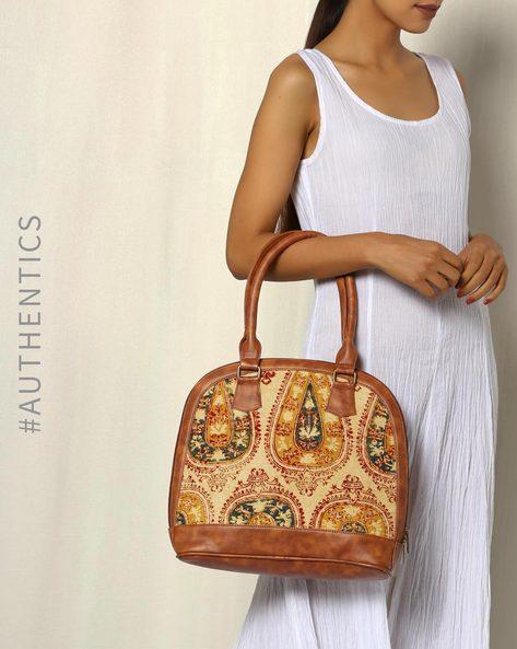Handblock Print Kalamkari Kilim Vegan Leather Shoulder Bag By A BIG INDIAN STORY ( Tan ) - 460083805001
