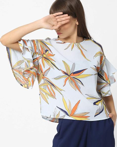 Drop-Shoulder Botanical Print Top By Ginger By Lifestyle ( Lightblue )