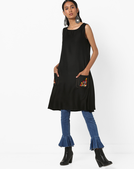 Sleeveless A-line Kurta With Embroidered Pockets By FUSION ( Black )