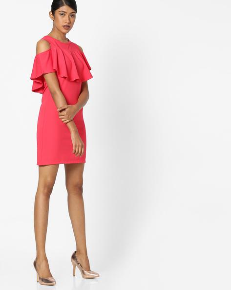 Cold-Shoulder Bodycon Dress By RIO ( Pink )