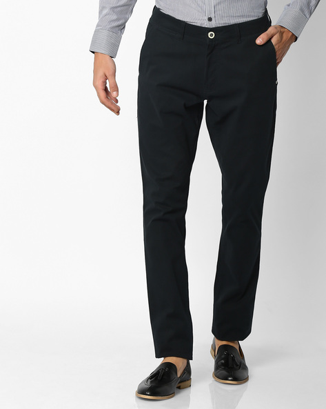 Mid-Rise Tapered Chinos By NETPLAY ( Navy )