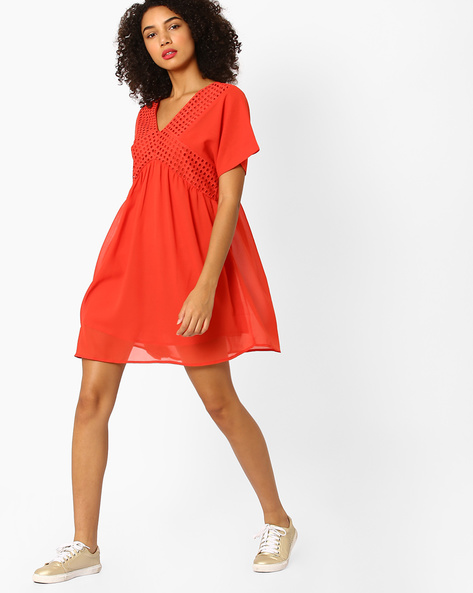 Fit & Flare Dress With Eyelet Panels By Rena Love ( Red )