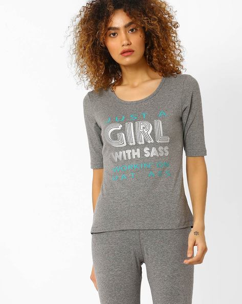 Graphic Print Crew-Neck T-shirt By AJIO ( Darkgrey )