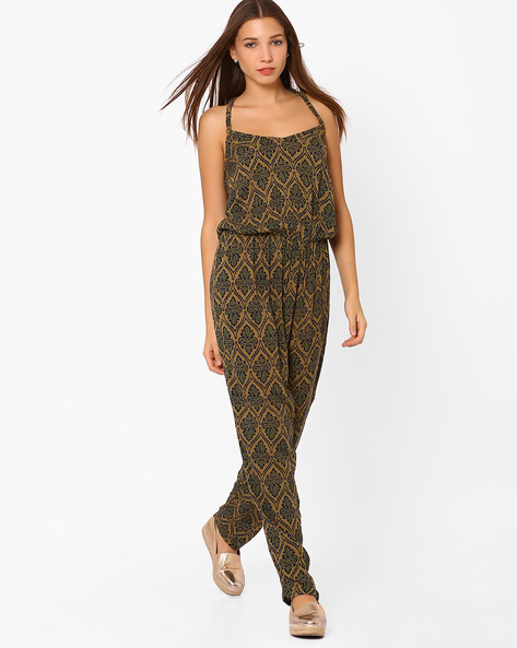 Printed Jumpsuit With Lace Trim By Rena Love ( Khaki )