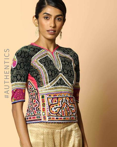 Kutch Embroidered Backless Blouse By Indie Picks ( Multi ) - 460103687001