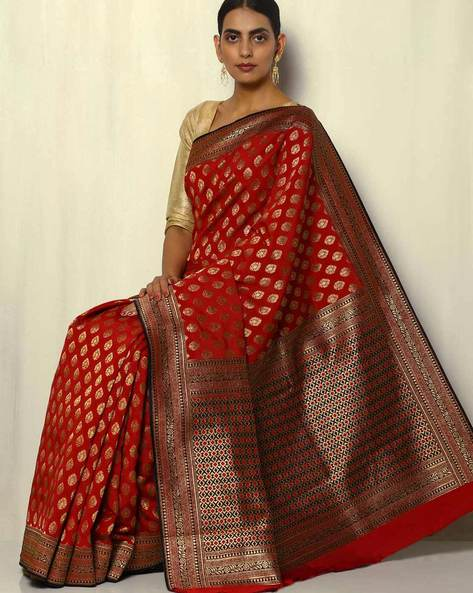 South Silk Thousand Buta Saree With Zari Border By Pretty Woman ( Red )