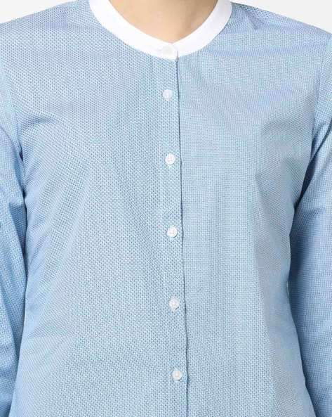 Printed Shirt With Contrast Neck By AJIO ( Blue )