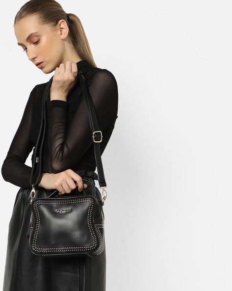 Embellished Sling Bag By Carlton London ( Black )