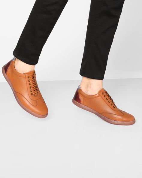 Low-Cut N9-Treated Lace-Up Casual Shoes By AJIO ( Tan )