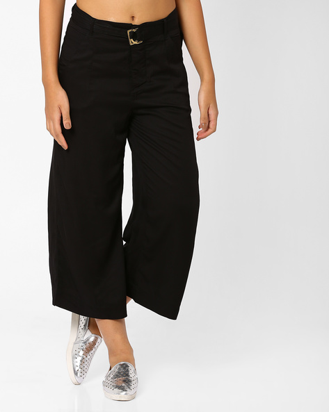 Crop Palazzo Pants By CHEMISTRY ( Black )
