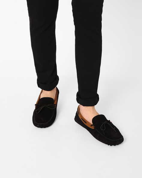 Suede Loafers With Bow Detail By Piaffe ( Black )