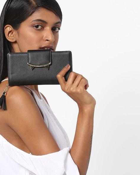 Embellished Wallet With Tassel By E2O ( Black )